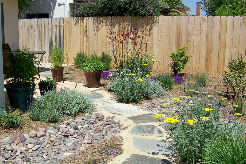 Water wise landscape plans concrete patio drainage for Backyard landscaping ideas san diego