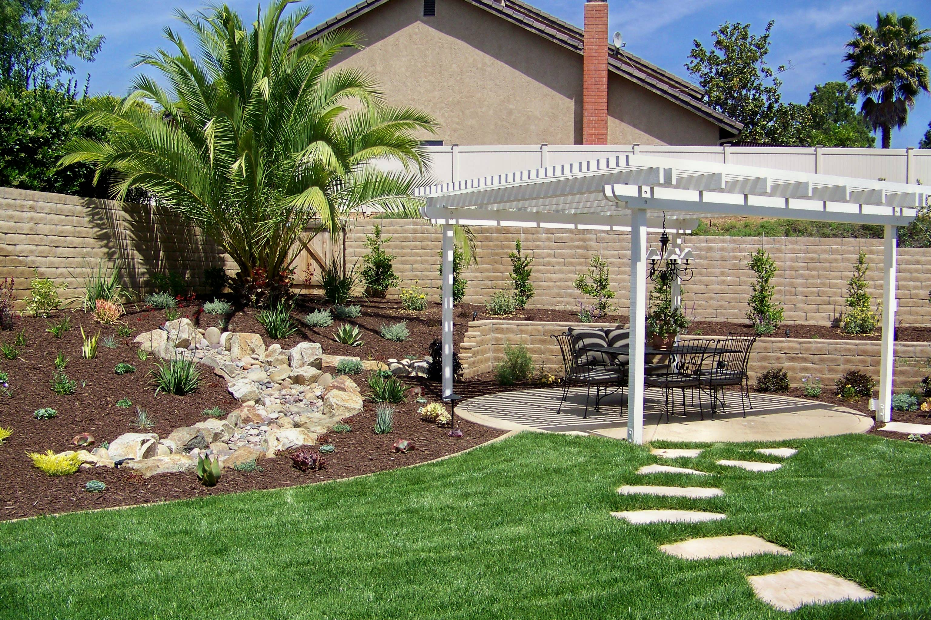 Backyard Design San Diego san diego landscape design western outdoor design and build Pergola Or Patio Cover Two Terms For The Same Element Building This From Redwood Is The Best Option And To Avoid All Maintenance Aluminum Is Also A